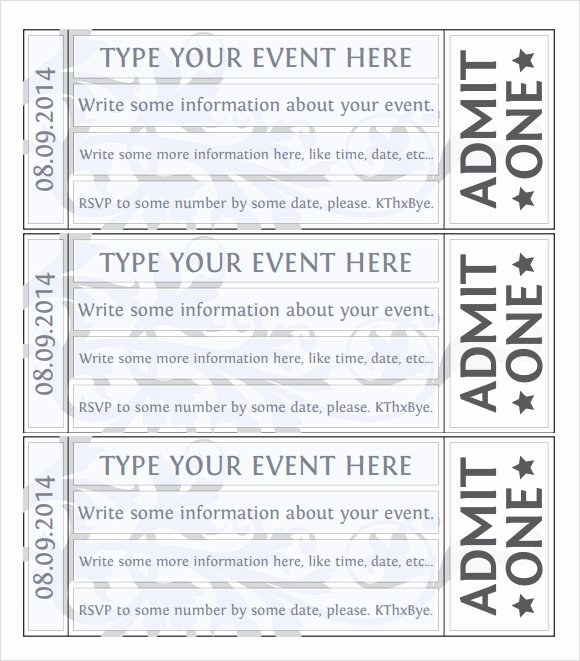 Ticket Template Free Printable New 38 Sample Amazing event Ticket Templates Psd Ai Word