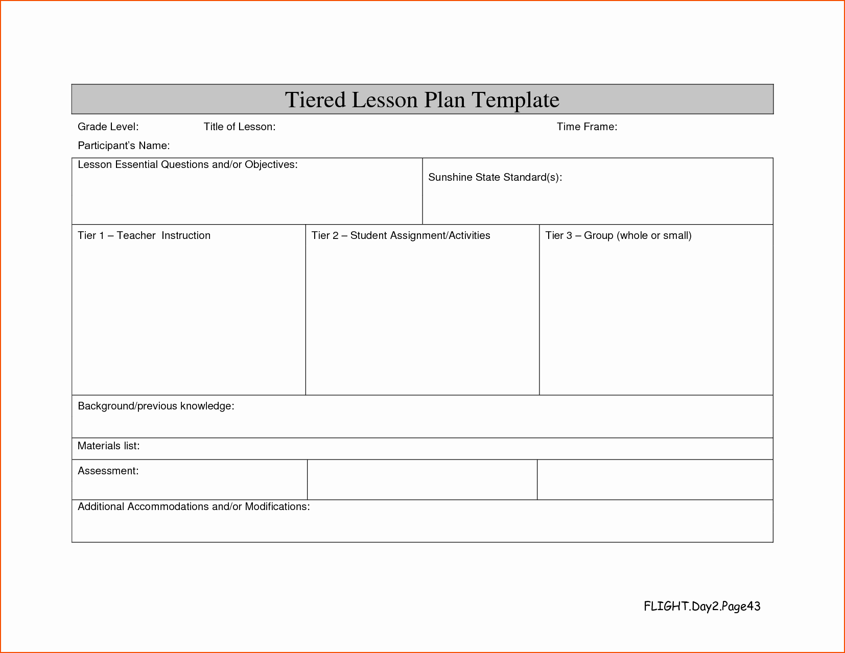 Tiered Lesson Plan Template Beautiful 8 Lesson Plan Template Doc Bookletemplate
