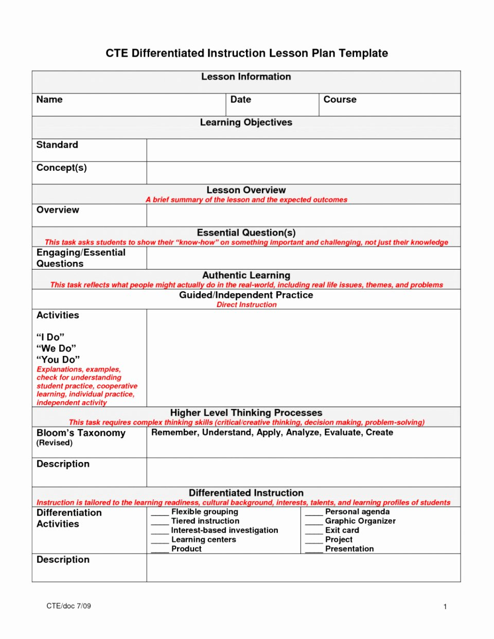 Tiered Lesson Plan Template Inspirational 50 Differentiated Lesson Plan Template