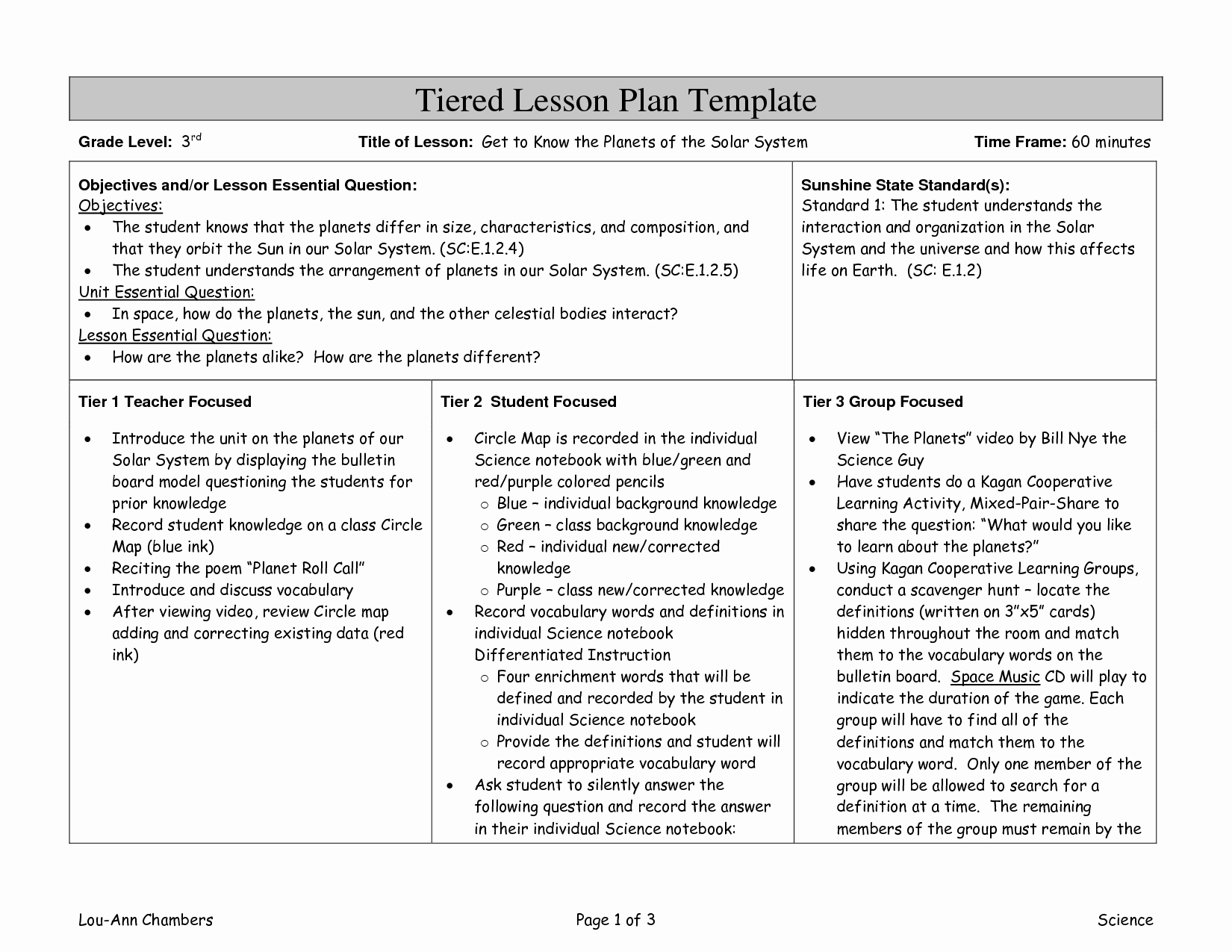 Tiered Lesson Plan Template Inspirational Differentiated Instruction Lesson Plan Template Image