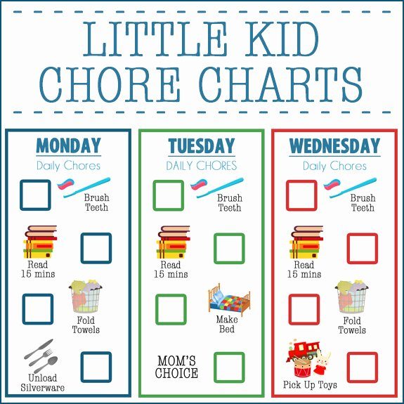 little kid chore charts ages 2 4