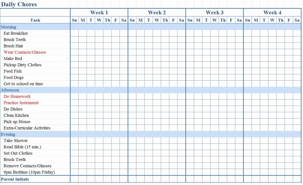Toddler Chore Chart Template Fresh Chore Chart for Kids