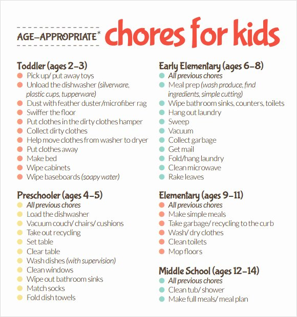 Toddler Chore Chart Template Inspirational Sample Kids Chore Chart Template 8 Free Documents In