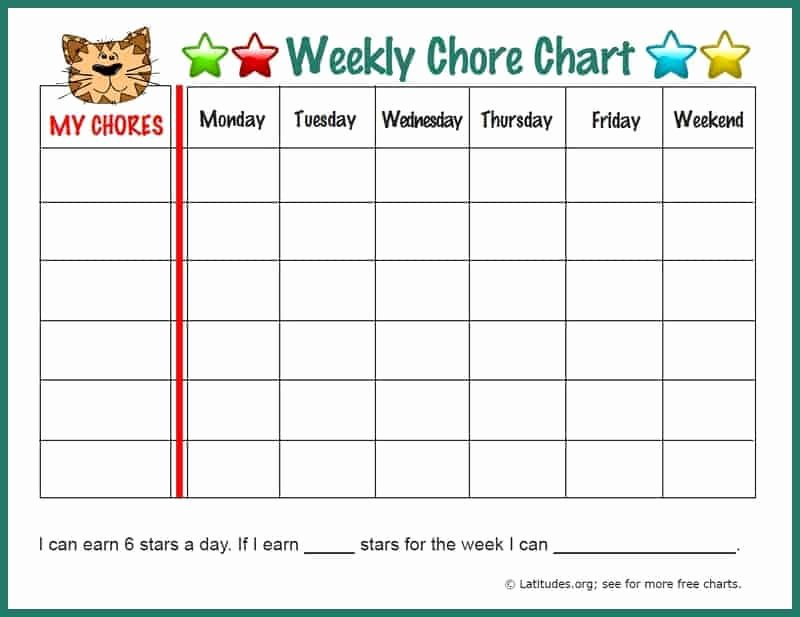 Toddler Chore Chart Template Luxury Free Weekly Chore Chart Fun Tiger