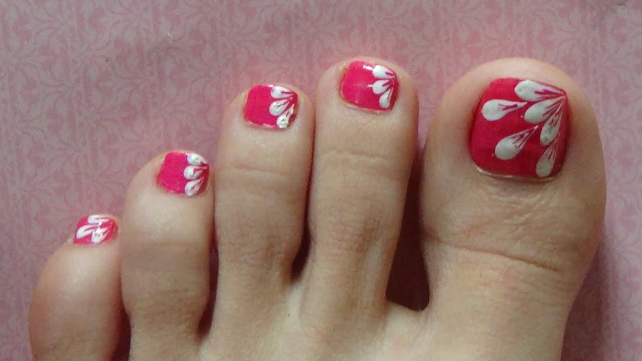 Toe Nail Art Easy New White Flower Petals Easy Design for toe Nails Nails with