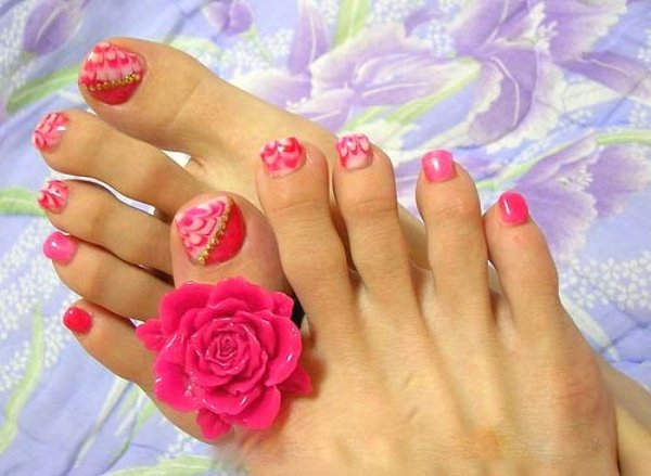 Toe Nail Art Flower Awesome 40 Pink toe Nail Art Design Ideas