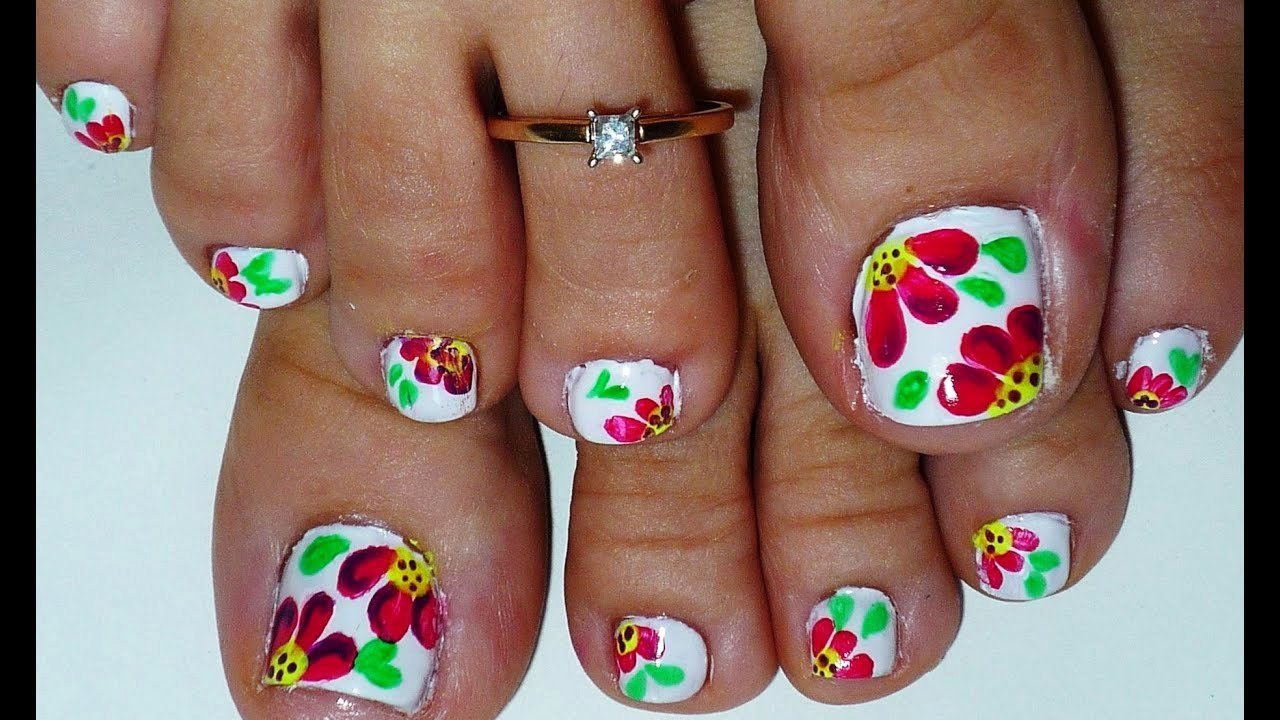 Toe Nail Art Flower Beautiful Summer Flowers toe Nail Art Design