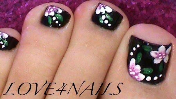 Toe Nail Art Flower Luxury Black toe Nails Flower Design Nail Art Gallery