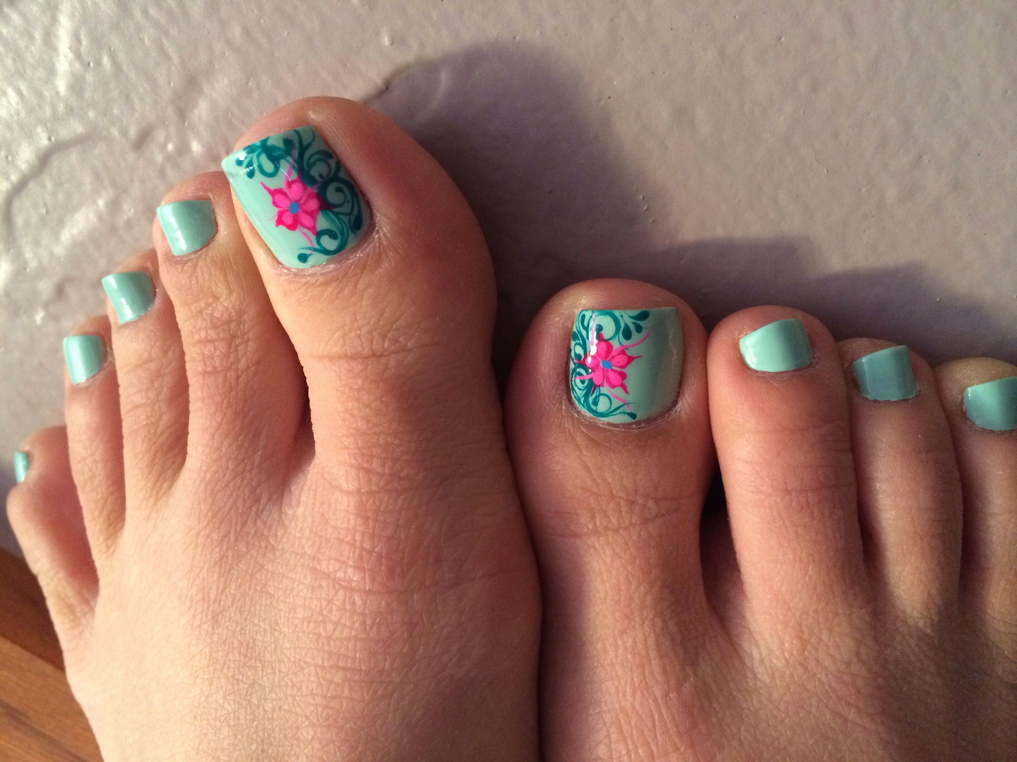 Toe Nail Art Flower New Pedicure with Nails Design