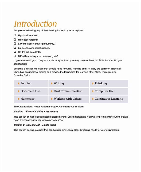 Training Needs Survey Questions Lovely Free 34 assessment Questionnaire Examples In Pdf