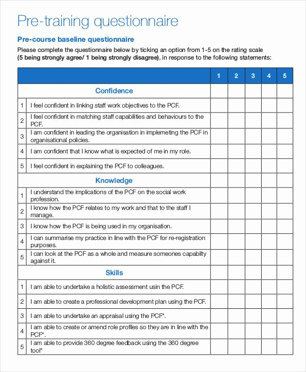 Training Needs Survey Questions Lovely Free 8 Training Questionnaire Examples & Samples In Pdf