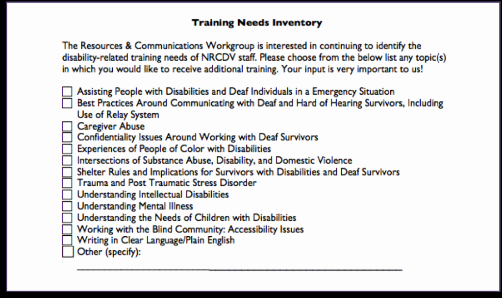 Training Needs Survey Questions Luxury National Resource Center On Domestic Violence the Nrcdv