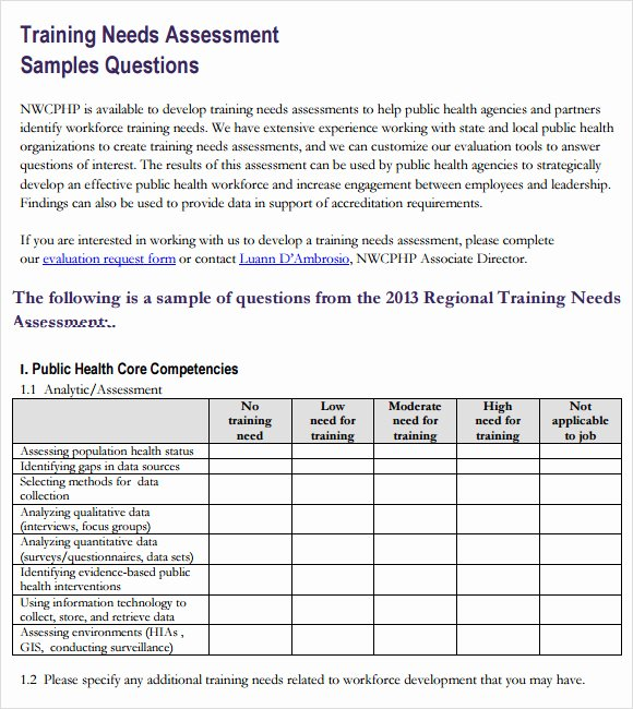 Training Needs Survey Questions New Training Needs assessment Template