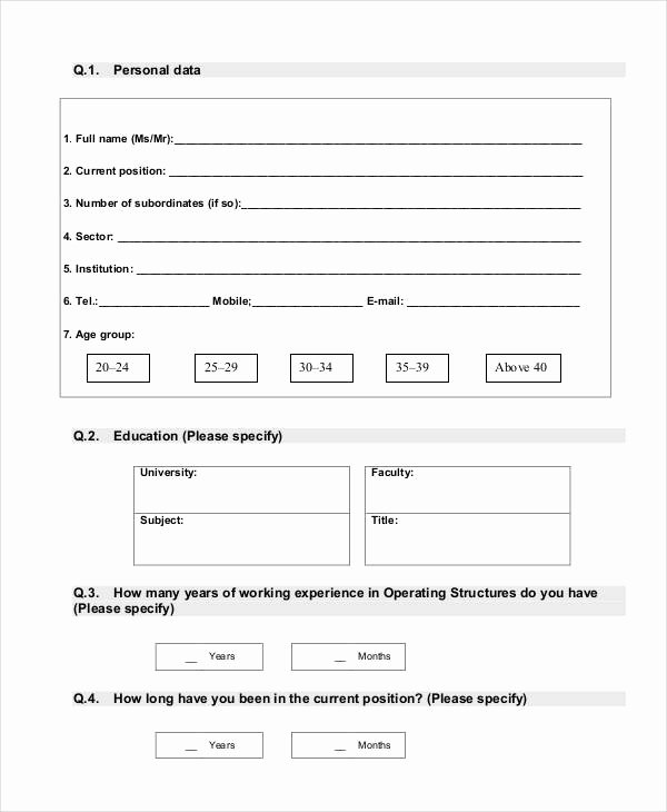 Training Needs Survey Questions Unique Free 34 assessment Questionnaire Examples In Pdf