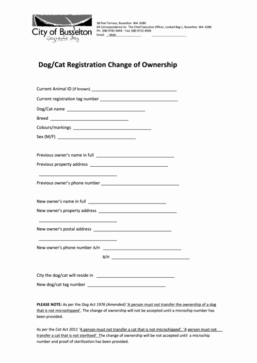 Transfer Of Ownership Template Elegant Dog Cat Change Ownership form Printable Pdf