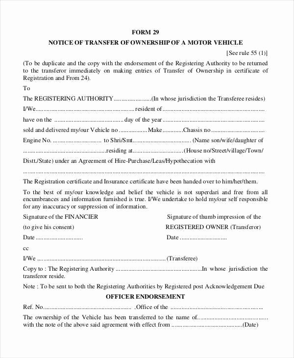 Transfer Of Ownership Template Inspirational Notification Change Ownership Motor Vehicle