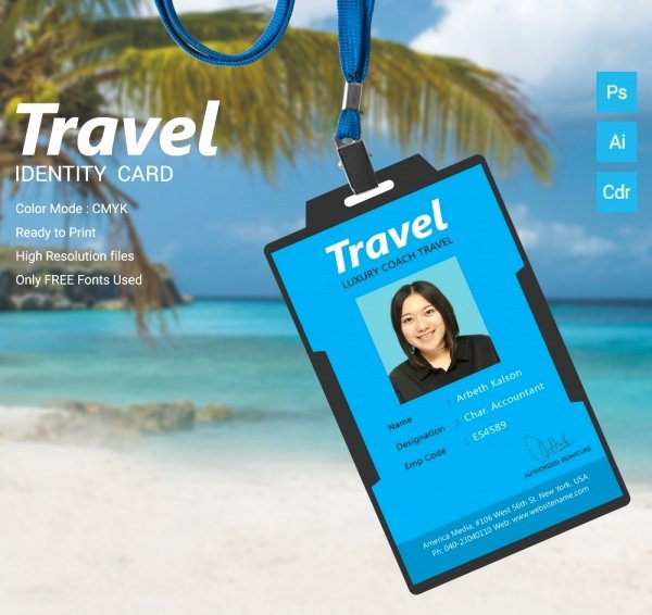 Travel Agency Id Card Unique 16 Travel Templates Psd Ai Cdr format Download