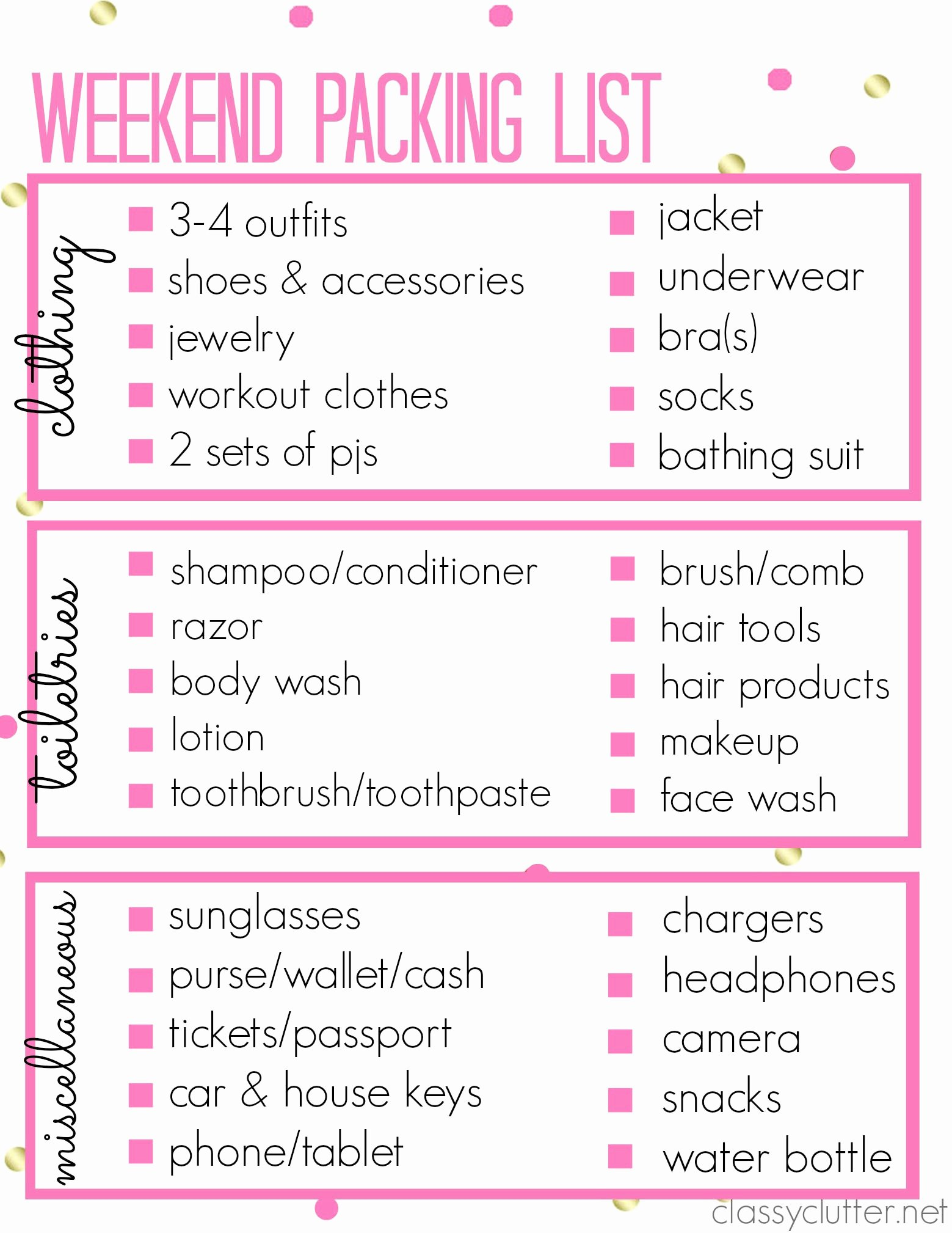 Travel Packing Checklist Best Of Printable Packing List for A Weekend Trip Classy Clutter