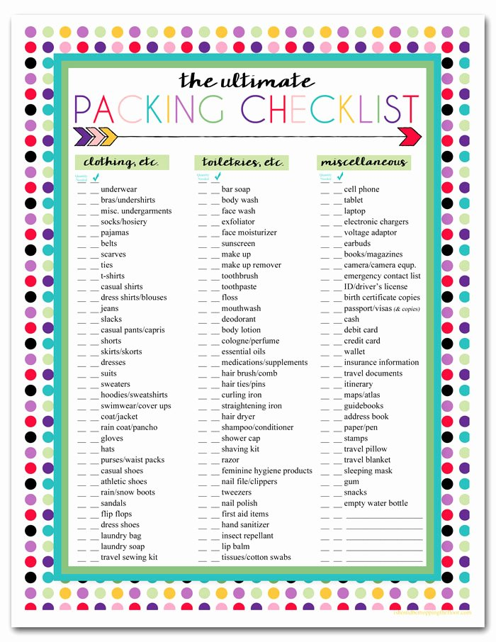 Travel Packing Checklist Elegant Free Printable Trip Packing List I Should Be Mopping the