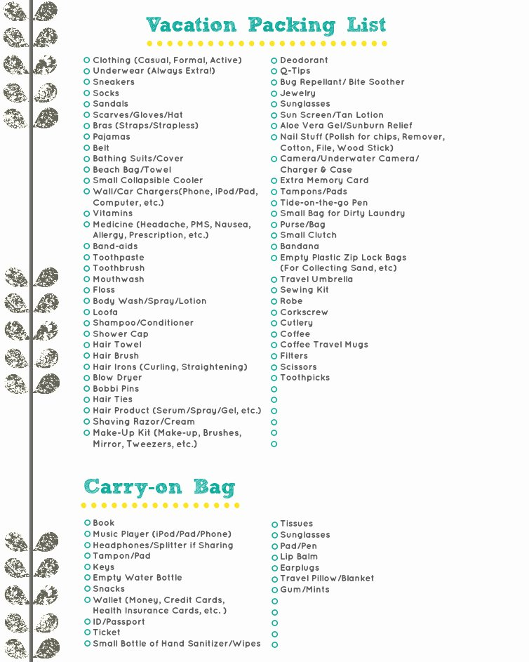 Travel Packing Checklist Elegant Vacation Packing List A Free Download