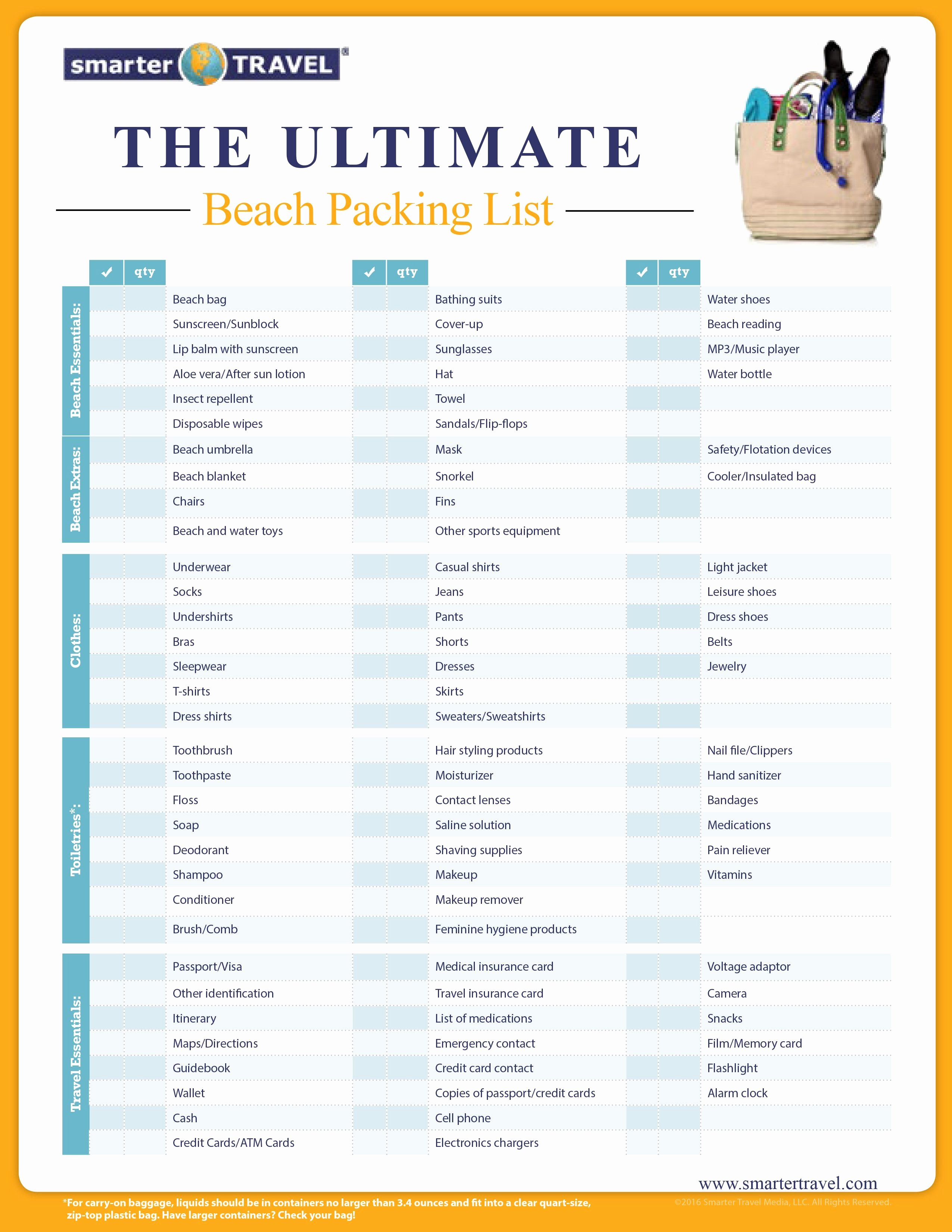 Travel Packing Checklist Fresh the Essential Beach Packing List Travel
