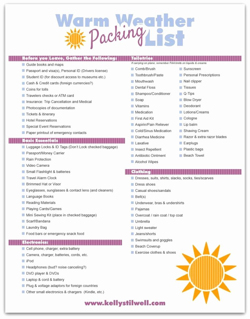 Travel Packing Checklist Fresh Tips for Vacation Packing & Free Printable Vacation