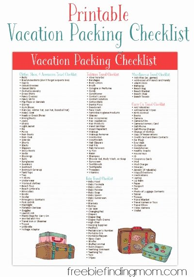 Travel Packing Checklist Luxury Free Printable Vacation Packing List From Freebie Finding Mom