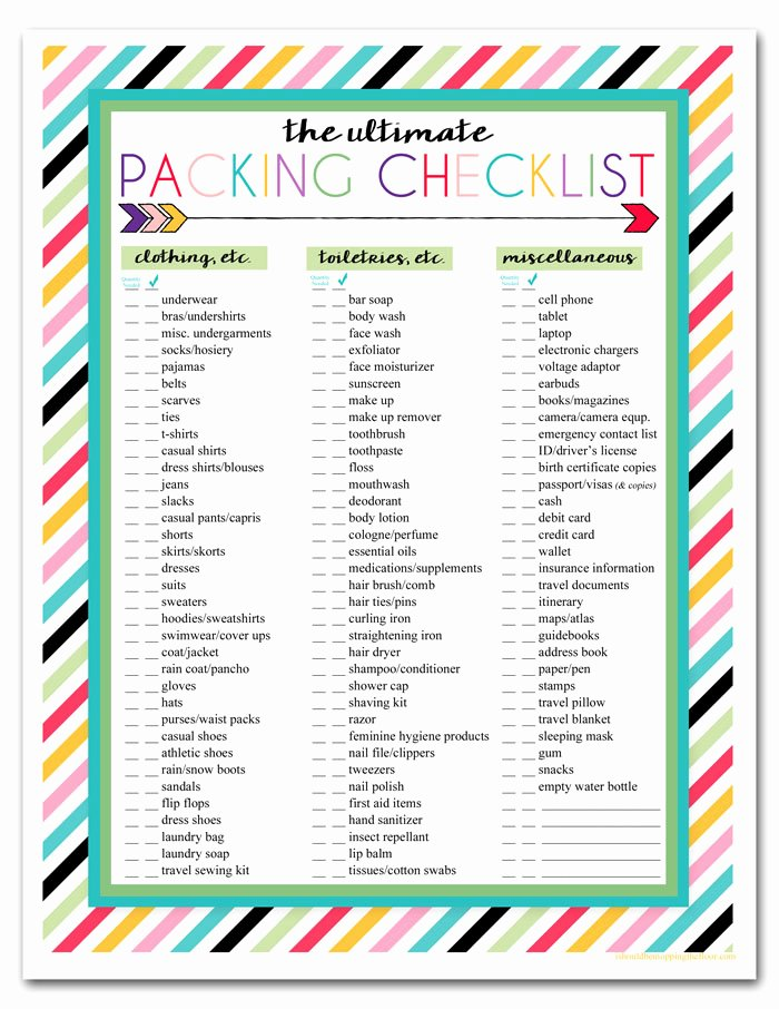 Travel Packing Checklist Unique I Should Be Mopping the Floor Free Printable Ultimate