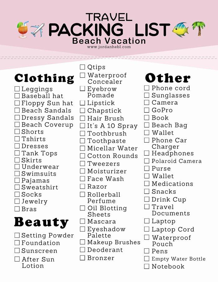 Travel Packing List Fresh Jordan Hebl Packing List for A Beach Vacation Free