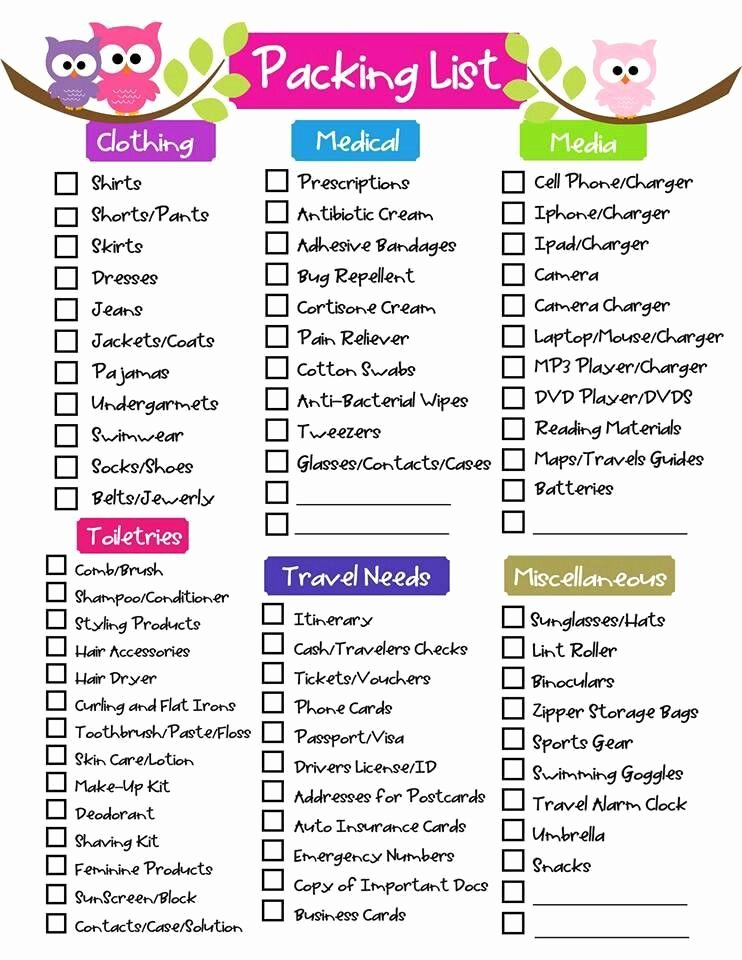 Travel Packing List Lovely Free Printable Ultimate Packing Checklist