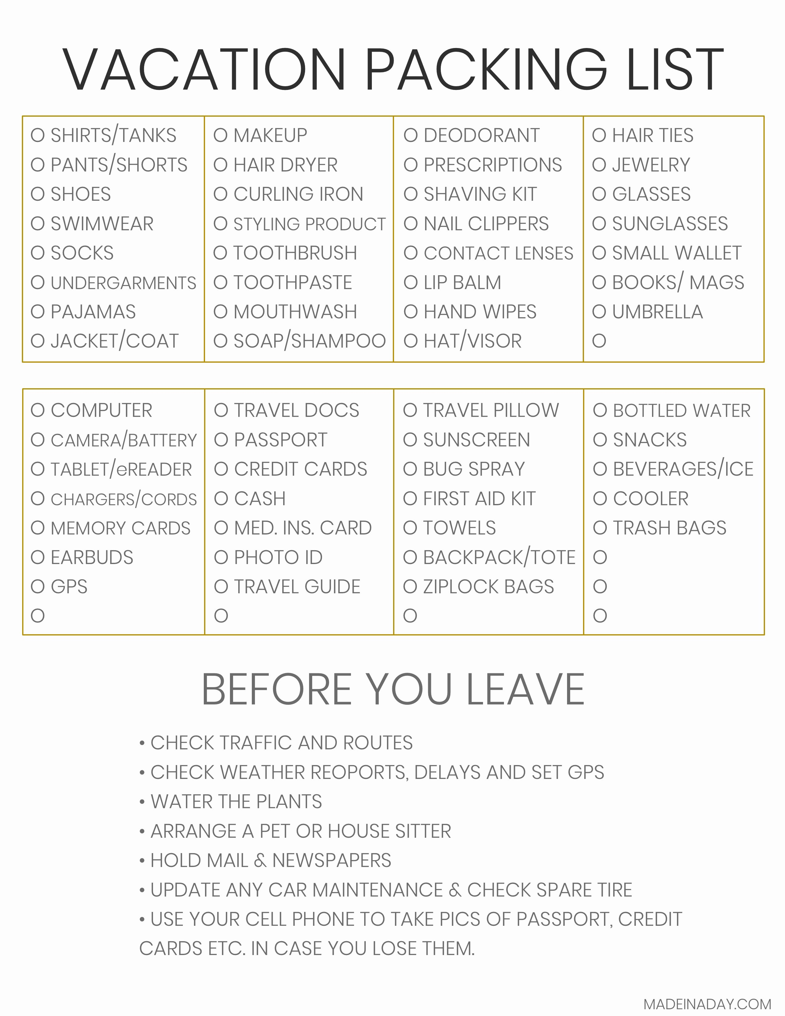 Travel Packing List Unique the Plete Vacation Travel Packing List Tips • Made In