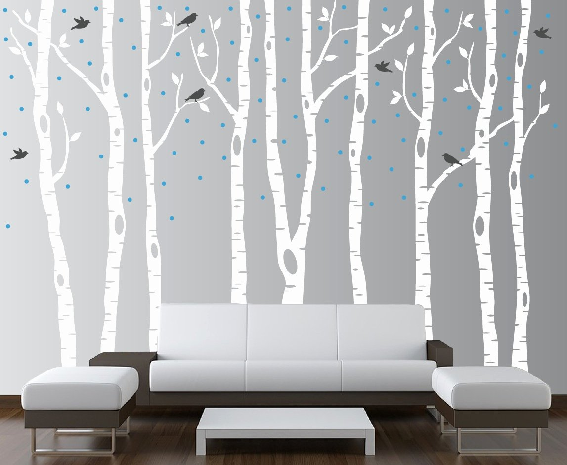 Tree Stencils for Walls Free Best Of Birch Tree Winter forest Vinyl Wall Decal