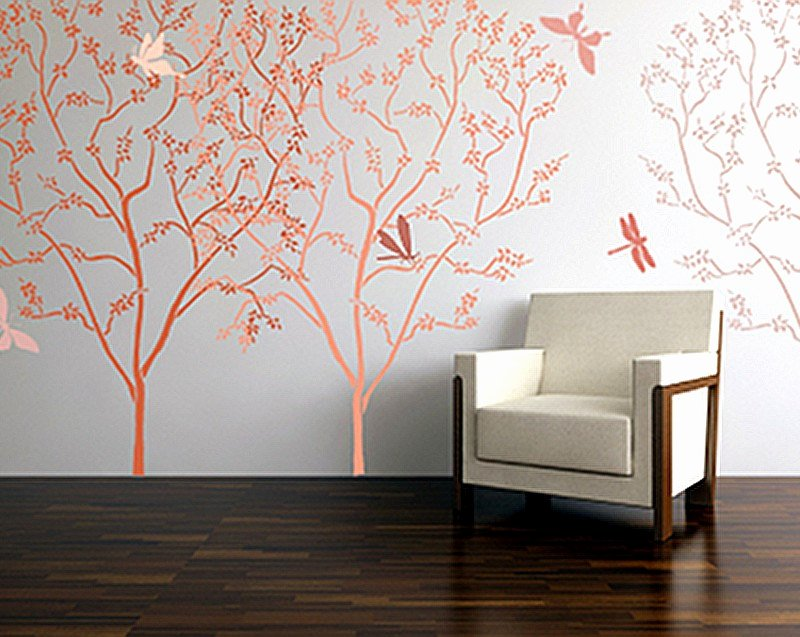 Tree Stencils for Walls Free Unique Stencil for Walls Blossoming Tree by Oliveleafstencils