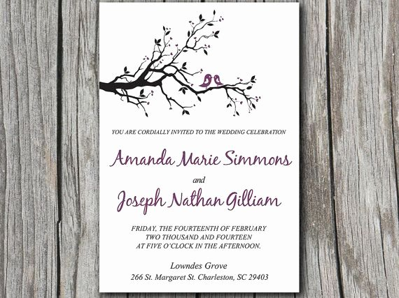 Tree Wedding Invitations Templates Beautiful Love Bird Wedding Invitation Template Dark Purple