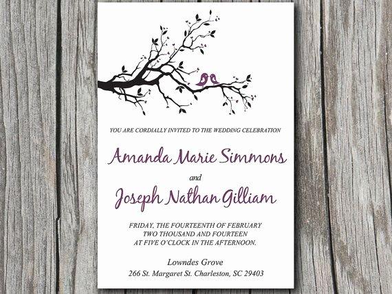 Tree Wedding Invitations Templates Beautiful Love Bird Wedding Invitation Template Dark Purple