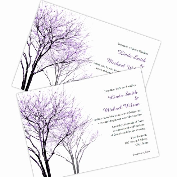 Tree Wedding Invitations Templates Best Of Purple Trees Wedding Invitation Diy Printable Template