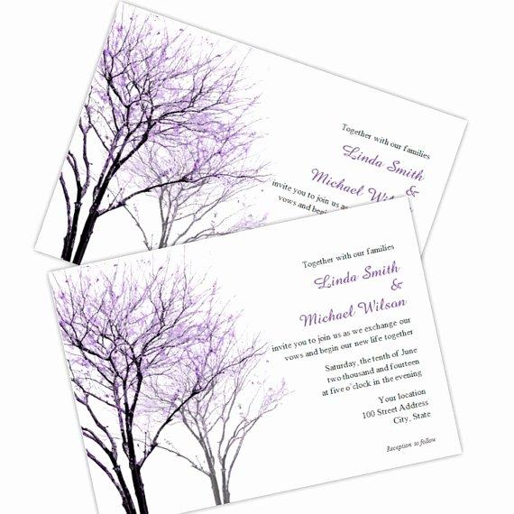 Tree Wedding Invitations Templates Best Of Purple Trees Wedding Invitation Diy Printable Template
