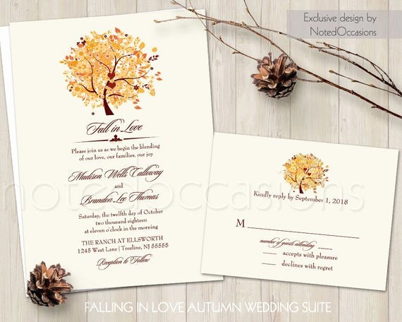 Tree Wedding Invitations Templates Best Of Rustic Fall Wedding Invitation Set Printable Autumn Oak Tree