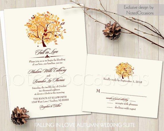 Tree Wedding Invitations Templates Best Of Rustic Fall Wedding Invitation Set Printable Autumn Oak Tree