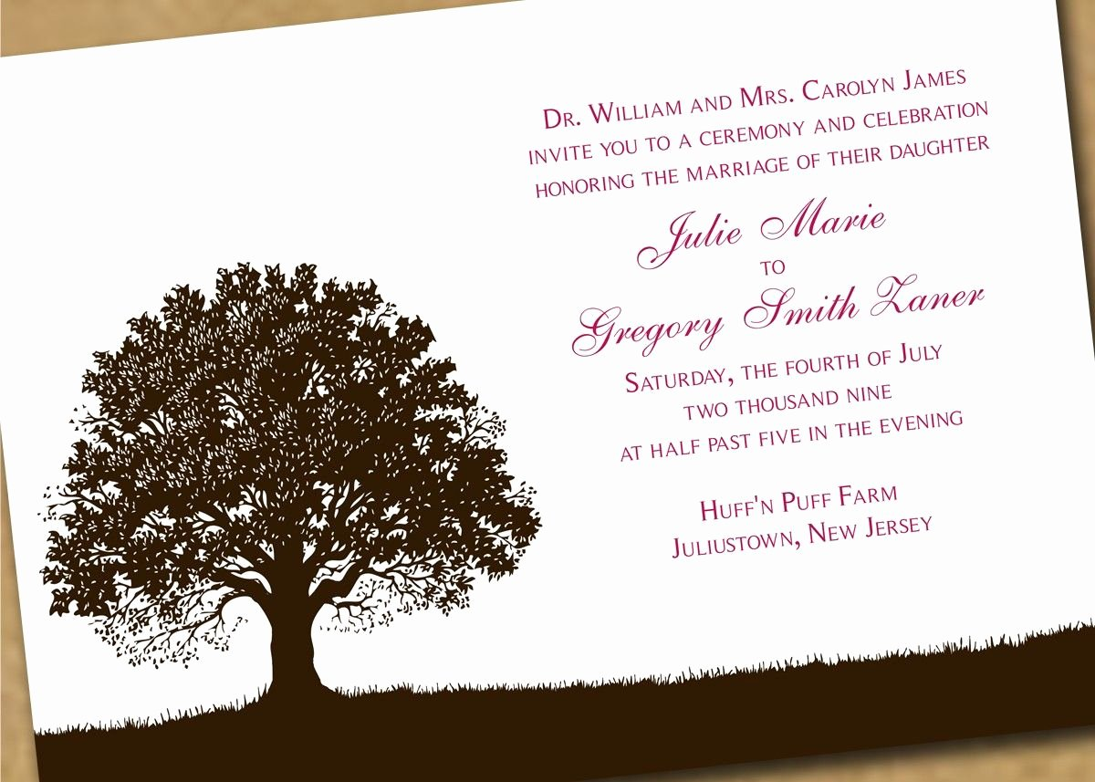 Tree Wedding Invitations Templates Best Of Tree theme Wedding Invitation Template