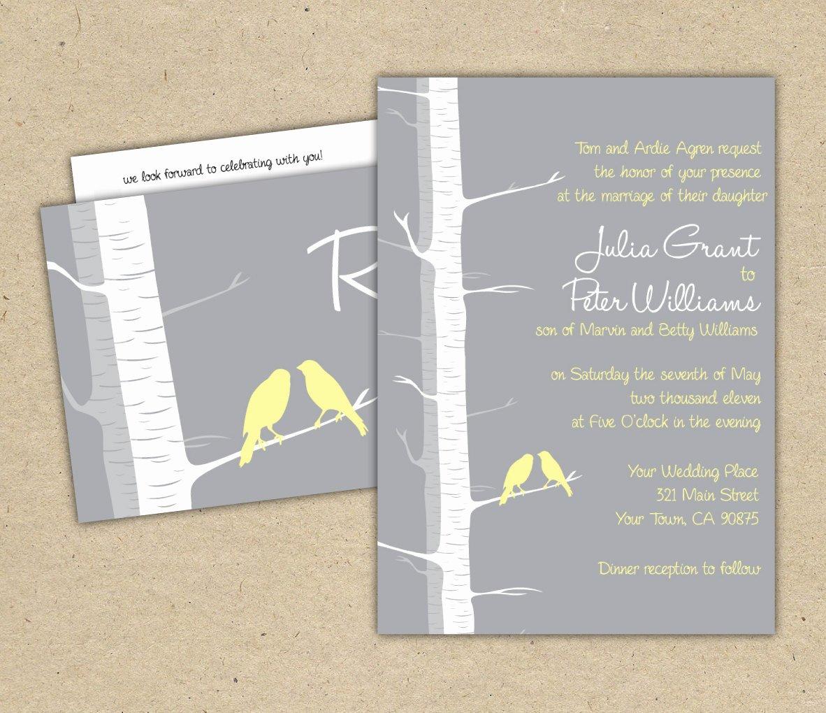 Tree Wedding Invitations Templates Elegant Birch Tree Wedding Invitation Template 1006