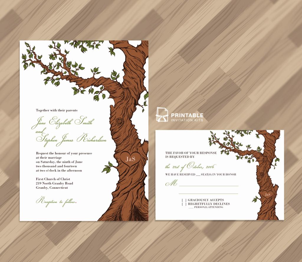 Tree Wedding Invitations Templates Fresh Free Pdf Rustic Wedding Invitation and Rsvp Template