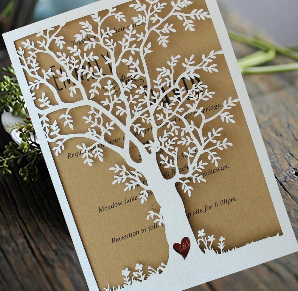 Tree Wedding Invitations Templates Fresh Laser Cut Tree Wedding Invitation Fall Wedding Invitation
