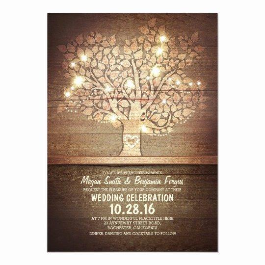 Tree Wedding Invitations Templates Fresh String Lights & Rustic Tree Wedding Invitations