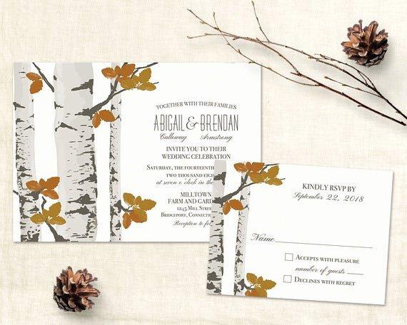 Tree Wedding Invitations Templates Inspirational Rustic Fall Wedding Invitation Template Printable Birch
