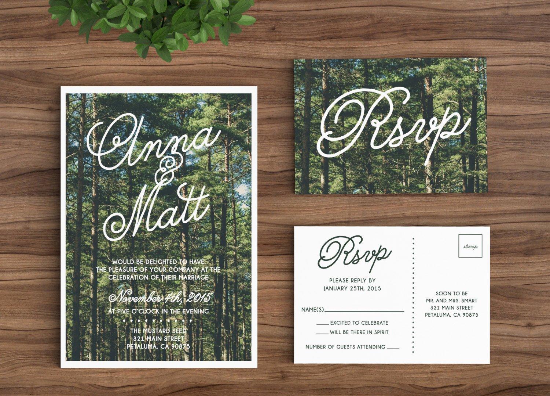 Tree Wedding Invitations Templates Inspirational Wedding Invitation Template Printable Rustic forest Trees
