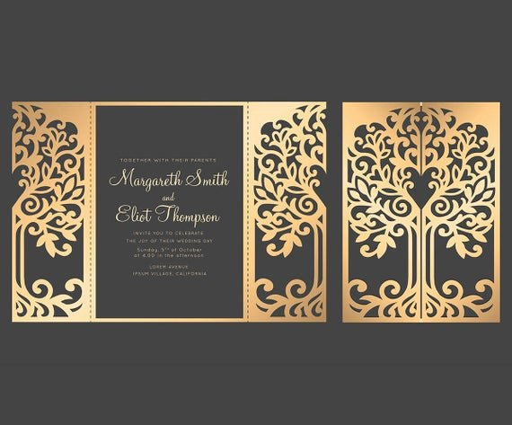 Tree Wedding Invitations Templates Lovely Love Tree Wedding Invitation Laser Cut Pattern Card Template