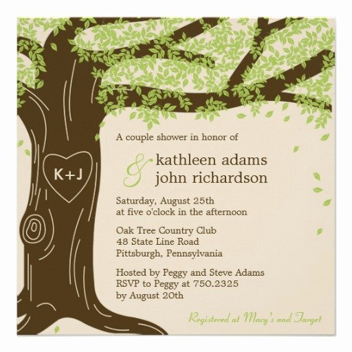"Tree Wedding Invitations Templates Lovely Oak Tree Wedding Shower Invitation 5 25"" Square Invitation"