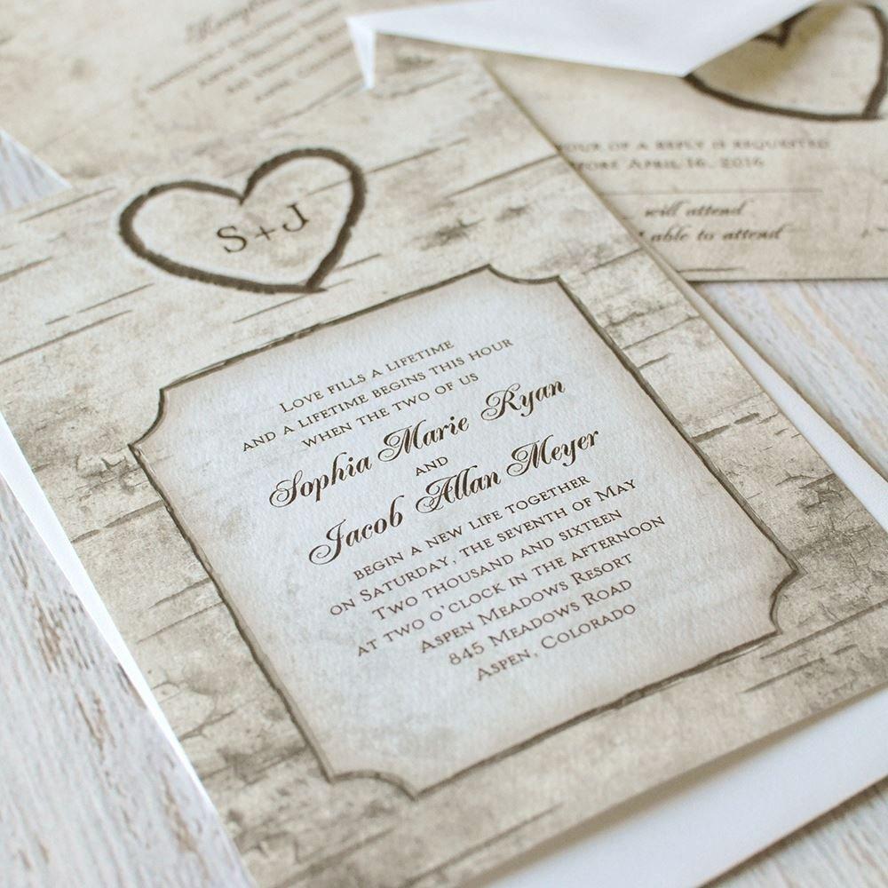 Tree Wedding Invitations Templates Luxury Birch Tree Carvings Invitation