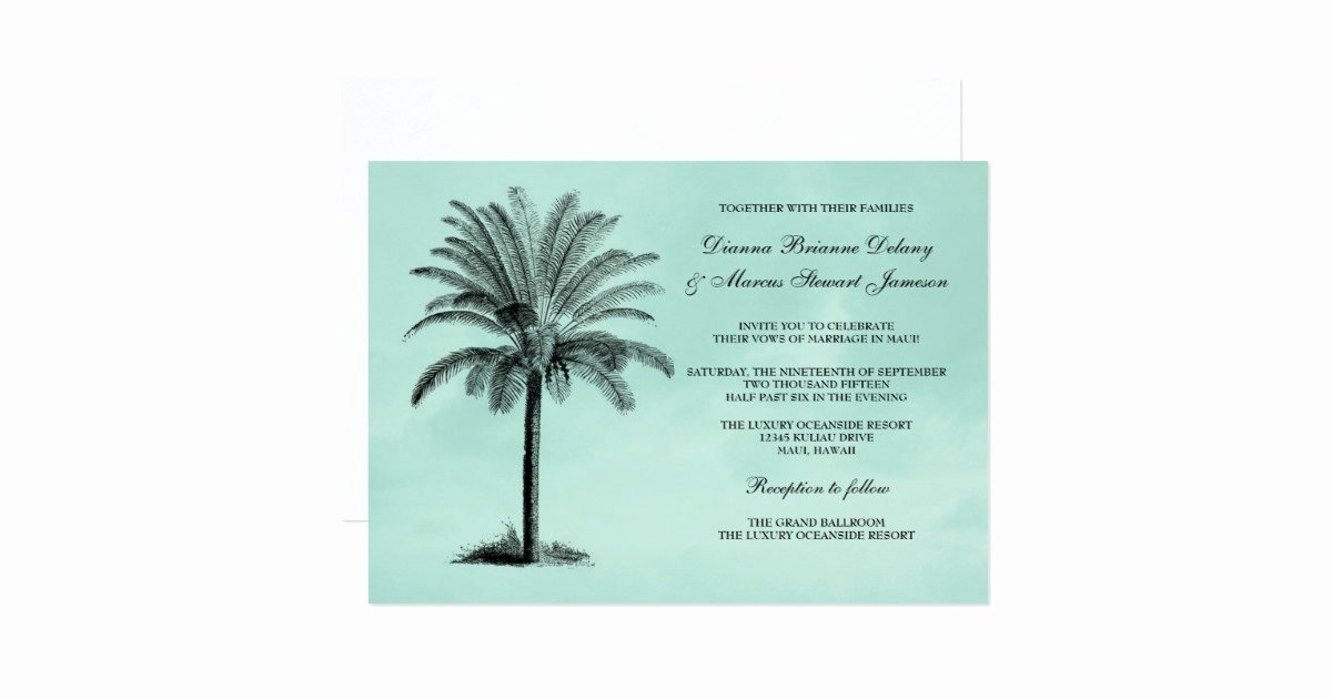 Tree Wedding Invitations Templates Luxury Palm Tree Tropical Wedding Invitation Template